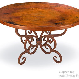 "Alexander 60"" Top Round Dining Table by Mathews & Co. - Iron Base Dimensions:(length x width x height)"