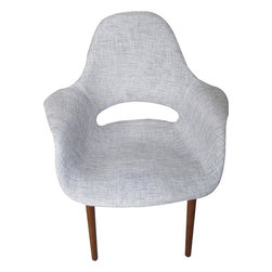 George Nelson - Wood Dining Fabric Chair in Gray - Fabric seat. Wooden legs. 28.7 in. W x 25.6 in. D x 33.5 in. H. Weight: 11 lbs.