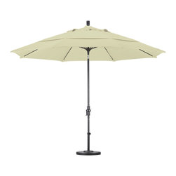 None - Ultra Premium Sunbrella 9-foot Patio Umbrella with Stand - Sunbrella brand fabrics are the top of the line,unmatched in quality and performance. This patio umbrella and stand set offers an extra large canopy,and an aluminum pole with a fiberglass rib system adding flexibility and longevity under heavy winds.