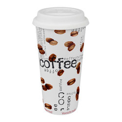 Konitz - Set of 4 Large Travel Mugs Coffee Collage - Give your morning joe an extra jolt with the Coffee Collage collection. The cool, contemporary style of Coffee Collage Large Travel Mugs consists of white porcelain sprinkled inside-and-out with photo-realistic coffee beans and black 'Coffee' lettering. Whether you're enjoying your java at home or on the go, you'll love the sleek style of these trendy mugs.