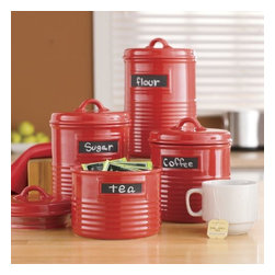 "Home Essentials - Cherry Red Can Shape Storage Canisters with Chalkboards - Add a pop of color to your kitchen and keep essential ingredients within reach with our durable, and ever so practical canister set. Both functional and beautiful, our artfully designed canisters are shaped to look like authentic cans and will spice up any kitchen or living room with culinary style. The chalkboard labels make it easy to find exactly what you need to whip up any culinary confection! * Set of 4 * Made of ceramic material * Gift boxed Dimensions are as follows: -Small: H: 4.3"" D: 4.9"" - Medium: H: 5"" D: 4.9"" - Large: H: 6.3"" D: 4.9"" - Extra large: H 7"" D: 4.9"""