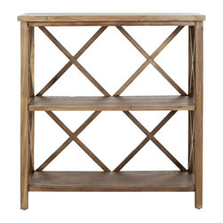 Safavieh - Liam Open Bookcase - Oak - The Liam open book case, crafted from pine in a medium oak finish, proves a versatile, multi-functional workhorse. With a light-weight stature and X-shaped back, Liam's casual styling make it ideal for country and beach settings in rooms throughout the home, even the bath. Minor assembly required.