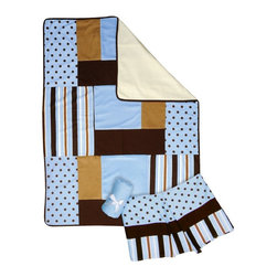 Trend Lab - Trend Lab 3 Piece Crib Bedding Set - Max - 101520 - Shop for Bedding Sets from Hayneedle.com! The Trend Lab 3 Piece Crib Bedding Set - Max beautifully combines classic polka dots and variegated stripes in a stylish contemporary color palette. Sweet sky blue is mixed with caramel and chocolate brown for a fashionable nursery statement. Delight your little one with this luxurious combination of soft fabrics including a linen blend cozy cotton snuggly velour and luscious ultrasuede.Set includes quilt crib sheet and skirt. The quilt measures 35 x 45 inches and features different sized patches of a sky blue and chocolate polka dot print and stripe print in sky blue chocolate caramel and white with sky blue velour caramel ultrasuede and chocolate linen blend accents. A chocolate linen blend trim adds the finishing touch. Sky blue crib sheet features 10-inch deep pockets and fits a standard 52 x 28 inch crib mattress. Elastic around the entire opening ensures a more secure fit. Box pleat skirt with 15-inch drop features strips of the sky blue and chocolate polka dot print along with the stripe print in sky blue chocolate caramel and white. A brown linen blend strip separates the two patterns. Matching Max Crib Bumpers sold separately. Complete your nursery with coordinating room accessories from the Max collection by Trend Lab.About Trend LabBegun in 2001 in Minnesota Trend Lab is a privately held company proudly owned by women. Rapid growth in the past five years has put Trend Lab products on the shelves of major retailers and the company continues to develop thoroughly tested high-quality baby and children's bedding decor and other items. With mature professionals at the helm of this business Trend Lab continues to inspire and provide its customers with stylish products for little ones. From bedding to cribs and everything in between Trend Lab is the right choice for your children.