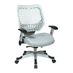 Office Star - Space Seating 86 REVV Series Unique Self Adjusting SpaceFlex Fog Back & Raven Me - Unique Self Adjusting SpaceFlex  Fog Back Managers Chair. Self adjusting SpaceFlex  Backrest Support System with Breathable Raven Mesh Seat, One Touch Pneumatic Seat Height Adjustment, Self Adjusting 4 to 1 Synchro Tilt Control with 3 Position Lock and Anti-Kick Function, Tilt Tension Adjustment, Height Adjustable Platinum Coated Arms with Soft PU Pads, Heavy Duty Platinum Coated Base with Black End Caps and Dual Wheel Carpet Casters.