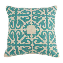 De-Cor - Moroccan Pillow, Turqouise Blue - Vibrant Turquoise blue crewel  pillow w/ wool Hand-embroidery.