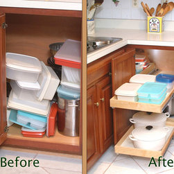 Blind Corner Cabinet Solution - Before & After - Make better use of your corner cabinets with ShelfGenie of Connecticut's blind corner cabinet solution, a system of pull out shelves that work in conjunction with each other to bring your stored items easily to you.  Extend the front shelf, then slide the corner shelf over to you for access to those items.