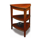 Leick Furniture - Favorite Finds Shield Tier End Table in Glaze - 3-Tiered display surfaces. Solid wood top. Solid wood shelves. Minimal assembly required. Made of solid Poplar. 21 in. W x 21 in. D x 27 in. HVersatile, three-sided design nestles into corners and other tight spaces. Tall enough to transition between tall armed upholstered pieces. Bowed, beaded rails support a solid wood top. Solid wood shelves.