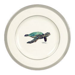 Caroline's Treasures - Loggerhead Turtle Swimming Ceramic Dinner Plate Round Platinum Rim - Heavy Round Ceramic Plate with Platinum Rim 10 1/2  inches.  LEAD FREE and diswasher safe.  The plate has been refired over 1600 degrees and the artwork will not fade or crack. Made by Caroline's Treasure in Mobile, AL