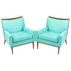 Modern Accent Chairs Pair Paul McCobb Turquoise & Walnut Club Chairs