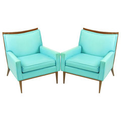 modern armchairs Pair Paul McCobb Turquoise &amp; Walnut Club Chairs