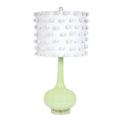 """Jubilee - Squash Green Pom Pom Table Lamp - The Squash lamp base brightens a room with fresh, contemporary style. Beneath a white cylindrical drum shade with pom pom accents, a green opaque glass light fixture captivates with alluring curves. Accepts one 60W max bulb (not included). 13""""W x 28.5""""H. Cord: 3'L"""