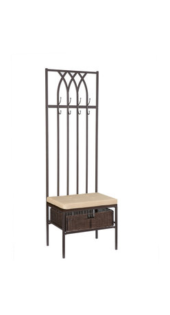 Holly & Martin - Seville Hall Tree Entry Bench - Solve your entry way clutter problems with this Celtic hall tree bench. This bench creates a unique look in your home with its gorgeous elongated design. Paired with substantial functionality, this piece allows you to hang coats, store your dog's leash and even have a seat when you come home from a busy day at work. Add function and style to your beloved home with this quaint entry bench.