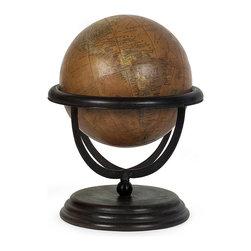 Large Globe - Sophisticated small orange globe on wooden base
