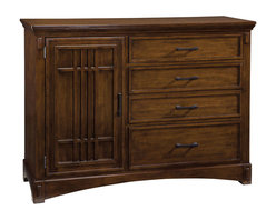 Standard Furniture - Standard Furniture Artisan Loft 4-Drawer 1-Door Chesser in Warm Medium Oak - The rustic and bold character of Arts & Crafts styling is portrayed in the authentic Craftsman details found in Artisan Loft Bedroom.