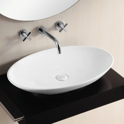 "Beautiful Oval-Shaped Vessel Sink - This beautiful oval-shaped vessel bathroom sink is made of high-quality white ceramic. Sink is designed in Italy for premium design. Sink dimensions: 27"" x 17.1"" x 4.5"""
