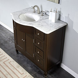 Silkroad Exclusive - Silkroad Exclusive 38-inch Carrara White Marble Stone Top Bathroom Off-Center Si - Gorgeously designed with a dark-walnut finish,brushed-nickel hardware,and a natural stone counter,this single-sink bathroom vanity will beautifully update your bathroom. Featuring classic,curved lines,this vanity is ideal for most decors.