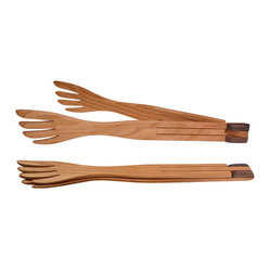 Jonathan's® Spoons - Folding Salad Fork - You'll applaud these ingenious salad forks, cleverly hinged to allow for one-handed serving. Artisan-crafted from wild cherry wood, they're both an accent and an asset to your table.