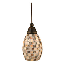 "Toltec - Toltec 22-Dg-408 Cord Mini Pendant Shown in Dark Granite Finish - Toltec 22-DG-408 Cord Mini Pendant Shown in Dark Granite Finish with 5"" Sea Shell Glass"
