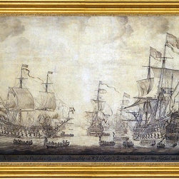 """The Elder Willem Van de  Velde-16""""x24"""" Framed Canvas - 16"""" x 24"""" The Elder Willem Van de  Velde The Council of War on Board 'De Zeven Provincien', the Flagship of Michiel Adriaensz de Ruyter, on 10 June 1666 framed premium canvas print reproduced to meet museum quality standards. Our museum quality canvas prints are produced using high-precision print technology for a more accurate reproduction printed on high quality canvas with fade-resistant, archival inks. Our progressive business model allows us to offer works of art to you at the best wholesale pricing, significantly less than art gallery prices, affordable to all. This artwork is hand stretched onto wooden stretcher bars, then mounted into our 3"""" wide gold finish frame with black panel by one of our expert framers. Our framed canvas print comes with hardware, ready to hang on your wall.  We present a comprehensive collection of exceptional canvas art reproductions by The Elder Willem Van de  Velde."""