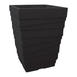 Craftware - Craftware Square Wavy All-Weather Planter - JP VIQ48CF - Shop for Planters and Pottery from Hayneedle.com! Give your garden deck patio or outdoor living space a contemporary touch with the Craftware Square Wavy All-Weather Planter. This handsome planter is made with 100% recycled poly materials and features a textured surface and layered look. Small pores offer proper breathability so your plants will thrive even with no drain holes. Color options available. About Craftware For decades Craftware Pottery has offered cutting edge home and garden pottery lines that are unique and functional. They are located in Omaha Nebraska and committed to providing items that meet any and all customer design challenges. Craftware Pottery containers come in a wide variety of sizes shapes and colors. They offer a selection of glazed pottery all-weather poly containers terracotta clay pots commercial planters garden accents water features home decor and more.