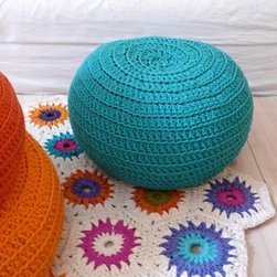 Small Crocheted Pouf - A fun pouf for me to rest my feet on while rocking my newborn to sleep in the rocking chair.