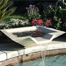 "Lamps Plus - 24"" Cubic Sandstone Outdoor Pool or Pond Fountain - This contemporary outdoor fountain is made from KutStone - a combination of real crushed stone and resin reinforced with fiberglass. The result is a durable stylish piece for your outdoor space. This great looking fountain features a square shape with three-sided lip. Fill with rock or other material for a stylish addition to pools or ponds. Sandstone finish sealed with UV resistant matte sealant. Note: this is a surface mounted fountain meant to connect to existing pool or pond plumbing. 24"" square. 7"" high.  Resin and stone outdoor fountain.  Connect to existing pool or pond plumbing system.  Surface mounted design.  Pump and mounting hardware not included.  Sandstone finish.  Fiberglass reinforced.  Sealed with UV resistant matte sealant.  24"" square.  7"" high.  Regular ground shipping only."