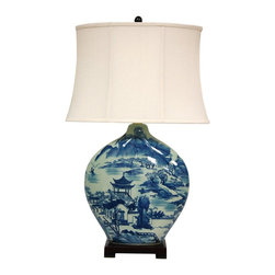 "Oriental Furniture - 32"" Blue and White Ming Landscape Vase Lamp - Porcelain lamp in an imperial ""moon vase"" design, a pattern popular in both Qing and Ming period decor. Features a traditional Ming blue and white landscape pattern with pagoda and tree fine detail. Includes sateen lampshade, ceramic finial and a dark cherry square base."