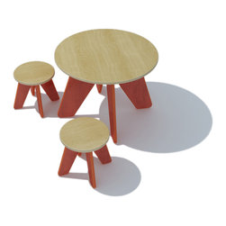 Sodura - Sodura Aero Kids Table and Two Stool Set, Orange - A fun little table and stool set with round tops make a great spot for your little ones to do activities or have a snack.  Solid wood construction makes for a long lasting piece of furniture. Low-VOC water based finishes are safe and non-toxic. No-formaldehyde glues keep fumes out. Easy to assemble.