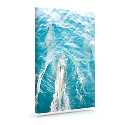 """Kess InHouse - Bree Madden """"Dolphins"""" Wrapped Art Canvas (8"""" x 10"""") - Bring your outdoor patio to life with this artistic outdoor canvas wrap featuring gorgeous artwork by KESS InHouse. These canvases are not only easy to hang and remove but also are the perfect addition to your patio collection. These canvases are stretched around a wooden frame and are built to withstand the elements and still look artistically fabulous. Decorating your patio and walls with these prints will add the splash of art and color that is needed to bring your patio collection together! With so many size options and artwork to choose from, there is no way to go wrong with these KESS Canvas Wraps!"""
