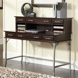 "Home Styles - Bordeaux Executive Desk with Hutch - Create ambiance with a perfect balance of warmth and style with this Bordeaux Executive Desk with Hutch by Home Styles. State-of-the-art functionality is what makes this desk really unique. Desk is completely finished on all four sides. Features: -Equipped with drawers.-One multi-function drop-down front center drawer with cable access.-Drawers are side mounted with easy-glide metal drawer guides.-Hutch provides an abundance of storage with one large middle drawer with two side storage drawers.-Double pigeon holed slotted storage large enough to accommodate.-Slightly flared legs and metalwork compliment the deep tones of the finish and veneers.-Hutch drawers have side mounted wood guides for support.-Bordeaux collection.-Completely finished on all sides.-Desk Type: Executive desk.-Top Finish: Espresso.-Powder Coated Finish: No.-Gloss Finish: No.-UV Finish: No.-Top Material: Wood.-Number of Items Included: 2.-Pieces Included: Desk and hutch.-Distressed: No.-Collection: Bordeaux.-Keyboard Tray: Yes.-Drawers Included: Yes.-Chair Included: No.-Commercial Use: No.-Product Care: Clean with damp cloth.-Swatch Available: No.-Recycled Content: No.Specifications: -FSC Certified: No.-CARB Compliant: Yes.-ISTA 3A Certified: Yes.Dimensions: -Overall Height - Top to Bottom: 42"".-Overall Width - Side to Side: 54"".-Overall Depth - Front to Back: 24"".-Cabinet: No.-Drawer: Yes.-Hutch: Yes.-Overall Product Weight: 176 lbs.Assembly: -Assembly Required: Yes."