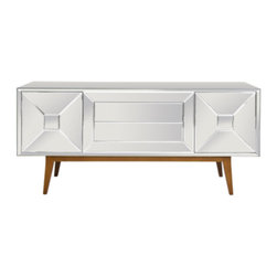 Worlds Away - Worlds Away - Lawford Console Table In Mirrored - Lawford - Inspired by mid-century modern style, the Worlds Away Lawford console captivates with statement-making glamour. Atop a sleek wooden base, this furnishing's beveled mirror surfaces highlight functional storage.
