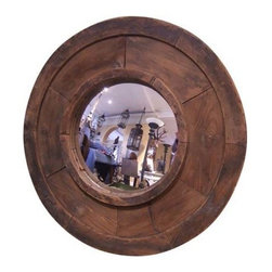 R.T. Facts - Reclaimed Sand Mold Framed Mirror - Striking Focal Piece. This beautiful rough finish frame started life as an industrial sand mold. It has a wonderful patina thanks to a century of factory use. It comes with a convex mirror and mounted hanging wire.