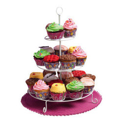 "Evergreen - Three Tiered Cupcake Stand - No matter the occasion, cupcakes served on this stand are suddenly sweeter and more fun.Towering on the tabletop, this decorative white cupcakeholder can hold up to 24 regular sized cupcakes, setting the mood for birthday celebration, baby shower delight, or everyday fun. Why serve yours dessert on a tray, when you can present them as a delicious work of art on a pedestal. * Dimensions: 13""W x 16.75""H* Durable and ready to use year after year"