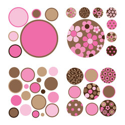 Brown/Pink Gone Dotty Minipops Wall Decal