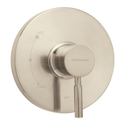 Speakman - Speakman Neo Collection Pressure Balance Valve Trim in Brushed Nickel - The Speakman Neo Collection Thermostatic Pressure Balance Valve Trim adds the perfect touch of modern elegance to any bathroom with its smooth contour and soft detail. Available in polished chrome and brushed nickel, this shower valve trim is refined yet simple, making it suitable for timeless bathroom designs. Designed to fit Speakman's Thermostatic Pressure Balance Valve and constructed of lightweight patented Speakman plastic, this valve trim is ideal for updating or touching up a contemporary style bathroom. Pair with Neo Collection showerheads, bath faucets and other bathroom accessories to create your dream bathroom