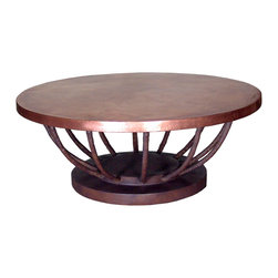 "GILANI - Artiste Coffee Table Base - Artiste Coffee Table Base. Style no: CT89279. 36""dia x 17""h. Material: Metal. Finish: As specified. Top Options: Up to 60"" diameter glass, or 48"" diameter copper, wood, or stone. Custom sizing available. Designed by Shah Gilani, ASFD."