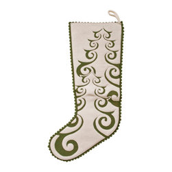 The Sandor Collection - Riverton Pine Stocking - 7.5 x 20.5 Inch - Bring Hungarian craftsmanship and culture to your home this holiday season with a traditional Hungarian designed Riverton Pine Stocking. Hang this beautiful handcrafted gem on your fireplace or anywhere in your home this year and for many years to come! The Riverton Pine Stocking can be purely decorative and can also be filled with a multitude of small gifts! This stocking is 7.5 inches x 20.5 inches(190mm x520.7mm) and is made using the traditional Hungarian hand-cut reverse felt applique technique.