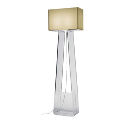 Pablo - Tube Top Floor Lamp - Architectural in shape, a mod floor lamp adds fun to any happening. The sturdy angular base and rectangular shade cuts a geometric shape and instantly makes your room ensemble retro cool.