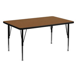 """Flash Furniture - 30''W x 48''L Rectangular Activity Table with Adjustable Pre-School Legs - Flash Furniture's Pre-School XU-A3048-REC-OAK-H-P-GG warp resistant high pressure laminate rectangular activity table features a 1.25"""" top and a high pressure laminate work surface. This Rectangular High Pressure Laminate activity table provides an extremely durable (no mar, no burn, no stain) work surface that is versatile enough for everything from computers to projects or group lessons. Sturdy steel legs adjust from 16.5"""" - 25.5"""" high and have a brilliant chrome finish. The 1.25"""" thick particle board top also incorporates a protective underside backing sheet to prevent moisture absorption and warping. T-mold edge banding provides a durable and attractive edging enhancement that is certain to withstand the rigors of any classroom environment. Glides prevent wobbling and will keep your work surface level. This model is featured in a beautiful Oak finish that will enhance the beauty of any school setting.; Rectangular Activity Table; Pre-School Table; Scratch and Stain Resistant Surface; 1.25"""" Thick High Pressure Oak Laminate Top; 1.25"""" Thick High Pressure Oak Laminate Top; Black Edge Band; 16 Gauge Tubular Steel Legs; Black Powder Coated Upper Legs and Chrome Lower Legs; Legs Adjust in 1"""" Increments; Self-Leveling Nylon Floor Glides; Recommended Seating Capacity: 6 Children; 2 Year Limited Warranty; View All Sizes and Finishes; Weight: 65 lbs; Overall Dimensions: 30""""W x 48""""D x 16.25"""" - 25.25""""H"""