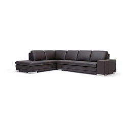 Wholesale Interiors - Interiors Callidora Dark Brown Leather-Leather Match Sofa Sectional Reverse - This is one leather couch with both size and style that will not disappoint. While the dark brown sectional comfortably seats four, it can fit up to six individuals if the need arises. The design is somewhat understated, but includes details such as the mirrored feet that add to its intrigue and charm. The brown leather upholsters all the top portions of both the seat cushions and back cushions. The rest of the sectional is covered with a closely-matched vinyl. The interior cushioning is high-density polyurethane foam, which provides you and your guests with a medium-firm relaxation experience.