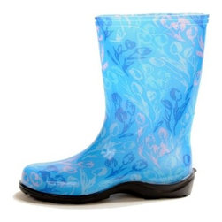 Sloggers Womens Blue Tulip Rain & Garden Boot - The Sloggers Womens Blue Tulip Rain & Garden Boot are a fun way to keep your feet clean and dry. These smart and stylish boots are crafted from durable resin material and are designed to keep your feet dry and clean, even when you're working in the garden. The fun floral design and lively blue hue will brighten your day.About SloggersLocated in Los Angeles, California, Sloggers has been developing high-quality garden clogs using a sophisticated injection molding system. A unique manufacturer system allows Sloggers to distribute top-quality products at highly competitive prices for customers the world over. Comfort and durability are the cornerstones of this 55-year old company that now produces a variety of lawn and garden care apparel all backed with distinguished customer service.