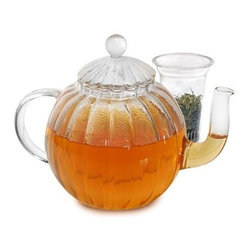 Epoca - Primula Glass Teapot Sophe 40OZ - Primula Sophe Glass Teapot with Lid and Infuser is for Tea Connoisseurs who love the large capacity pot with elongated spout glass lid and transparent globe design. The entire tea pot is hand blown by artisans in China and made of beautiful borosilicate glass an industry leader in durability and thermal shock resistance. This technologically advanced glassware appears delicate but it is actually stronger and more heat resistant than conventional glass. The pots' vertical linear design distinguishes it from other glass tea pots enamoring all with its elegant sophisticated style. The round looped handle is also made of transparent glass and is crafted for easy comfortable pouring. The crystal clear glass provides the perfect window to view flowering teas or insert the included glass loose tea infuser to brew delicious loose tea. You'll love serving tea as you watch the antioxidant-filled hue of your liquid refreshment glide out of its; elongated curved spout.