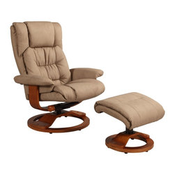 """Mac Motion - Mac Motion Oslo Vinci Bonded Leather Swivel Recliner and Ottoman Set - Leather Swivel Recliner & Ottoman belongs to Oslo Collection Collection by Mac Motion Norwegian styling never had it so good, with this unique 2 pc matching chair and ottoman, from the """"Oslo Collection"""". Nested within the strong selective hardwood frame with a rich """"Walnut"""" wood frame finish, to match its accented ottoman, this is the winner! Offering a pillow top back rest along the back cushion, along with an angled headrest and """"MX-2"""" memory foam throughout, makes for a therapy comfort, support and styling. All within a standard seating are this models overall width of only 30"""", and fits very comfortably within most home areas. Features include 360 degree swivel, multiple adjustment for personalized reclining positions and matching ottoman. Both pieces are covered in bonded leather, everywhere you touch. This """"Stone"""" bonded leather color is complimented by the deep """"Walnut"""" wood frame finish, of the quality euro style frame.  Chair (1), Ottoman (1)"""