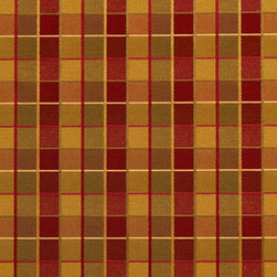 Red, Gold And Green Checkered Luxurious Faux Silk Upholstery Fabric By The Yard - This upholstery fabric feels and looks like silk, but is more durable and easier to maintain. This fabric will look great when used for upholstery, window treatments or bedding. This material is sure to standout in any space!