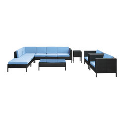 La Jolla 9-Piece Outdoor Patio Sectional Set - Shine with hidden brilliance with this powerful force of an outdoor living arrangements. Finely constructed espresso rattan seating sectionals with all-weather light blue fabric cushions give a sense of space and roominess that allow for true flexibility and comfort. Aim higher and give thanks and appreciation to picture perfect days spent outside.