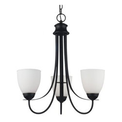 Sea Gull Lighting Uptown 3-Light Chandelier - 21W in. Blacksmith Finish - Under the three lights of the Sea Gull Lighting Uptown 3-Light Chandelier - 21W in. Blacksmith Finish, you'll be able to see just how much you love your space. Three 75-watt bulbs will shine through shades of satin-etched glass while being supported by a contemporary metal frame treated with a classic blacksmith finish. 120 inches of hanging chain and 144 inches of lead wire make sure that you can get the perfect height and location for your space.