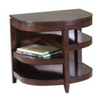 Magnussen - Magnussen Brunswick Demilune End Table with Storage Shelves in Coffee Bean - Magnussen - End Tables - T109606