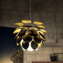Marset - Discoco Suspended Lamp, Black Gold - Discoco Suspended Lamp, Black Gold from Marset designed by Christophe Mathieu The Discoco Suspended Light features a unique design that offers an elegant touch and effective lighting to your space. Thirty-five lacquered, ABS (a thermoplastic) discs reflect the inner light source for a creative lighting pattern. Each disc is attached via a metal bar to a chromed sphere that provides a glittering reflection.