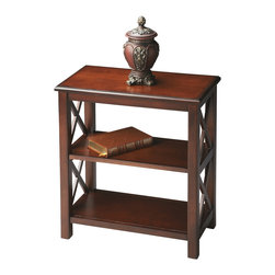 "Butler Specialty - Butler Bookcase - This petite bookcase is perfect wherever space is limited and book storage is needed. Crafted from hardwood solids, wood products and choice cherry veneers, it features ""X"" side supports and cherry veneer shelves. Finished on all sides."