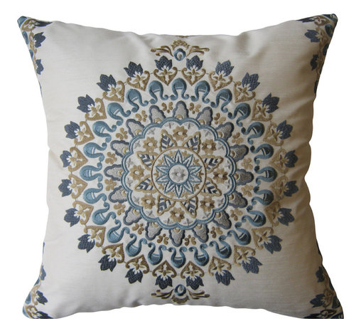KH Window Fashions, Inc. - Blue and Tan Exquisite Embroidered Medallion Pillow, with Insert - This exquisite embroidered medallion pillow belongs on any sofa or bed.  The back of the pillow is made of a solid ivory coordinating fabric.